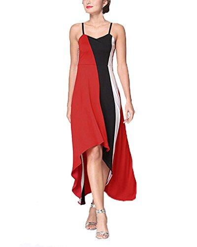 ZANZEA Femmes Sexy Été Épissage Maxi Bretelles Robe Sans Manches Soirée Plage Tunique Rouge