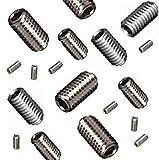 Cup Point Grub Schrauben gemischt (16 Pack) 5 mm Länge, verschiedene Metrisches Gewinde, M3, M4, M5 & M6. A2 Grade Grub Schraube/Set Schrauben. Siehe Produktbeschreibung für komplette Liste