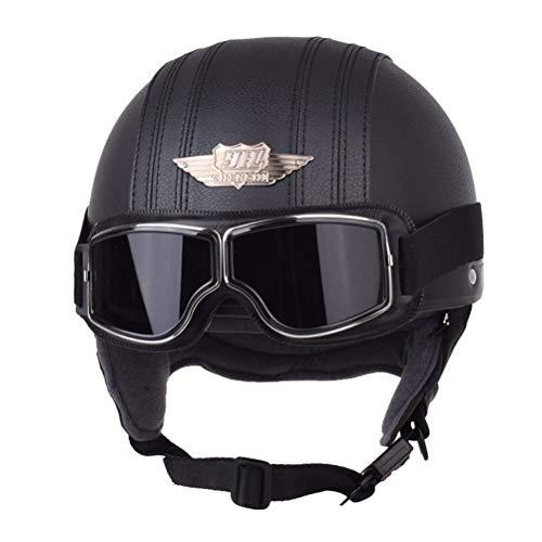 Männer Klassische Leder Retro Harley Motorradhelm Leichte Trend Frauen Pilot Motorradhelm Anti Fall Stoßfest Zyklus Sicherheitskappen -