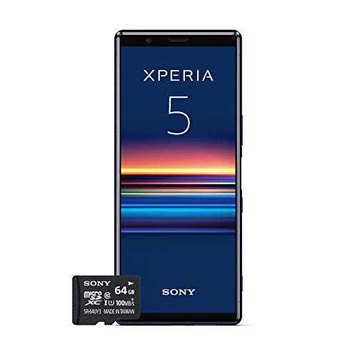 "Sony Xperia 5, 6.1"" FHD+ HDR OLED 21:9 Display, 6GB RAM, 128GB Speicher, Blau + gratis 64 GB Speicherkarte [Exklusiv bei Amazon DE]"