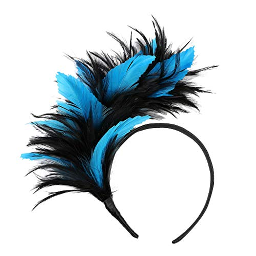 Kostüm Twister Große - TTWOMEN Frauen Kopfschmuck 20er Jahre Haarband Federhaarband Kostüm Accessoire Damen (Blau-B)