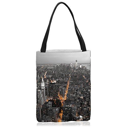 VOID N.Y. Skyline Tasche Einkaufs-Beutel Polyester Shopper Einkaufs-Tasche Bag New York Manhattan usa, Polyestertasche Größe:Medium