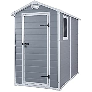 Keter Manor Outdoor Plastic Garden Storage Shed, Grey, 6 x 4 ft