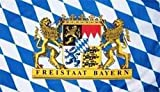 Fanshop Lünen Fahne - Flagge - Hißfahne - Bayern - Freistaat mit Löwen - Staatswappen - 90x150 cm - Hissfahne - Wappen -