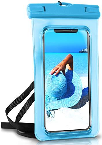 ONEFLOW® wasserdichte Handy-Hülle für alle Apple iPhone   Touch- & Kamera-Fenster + Armband und Schlaufe zum Umhängen, Blau (Aqua-Blue) (Iphone-kamera Wasserdicht)
