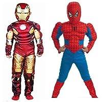 HDO American Super Toni Smart Hero Muscle Costume with Superhero SuperWeb Cosplay Muscle Costume for Kids (Combo Costume…