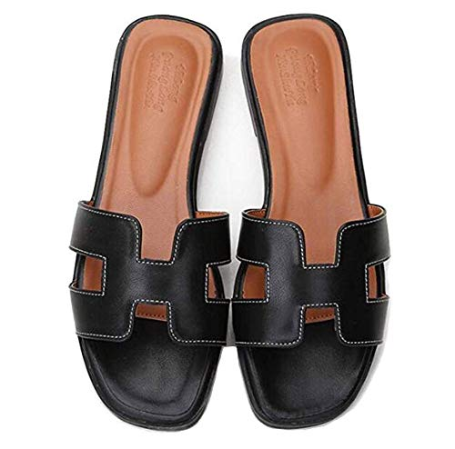 Summer H Flat Bottom Donna Sandali Casual Open Toe in Pelle Bassa con Infradito Wear Large Size,Black,33