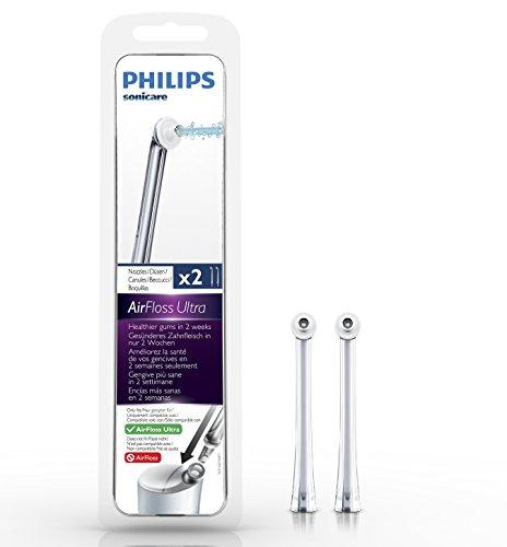 Philips Sonicare AirFloss Ultra Ersatzdüsen HX8032/07 für eine verbesserte Zahnzwischenraum Reinigung & ein tiefenreines Mundgefühl – Original, Grau, 2er Set