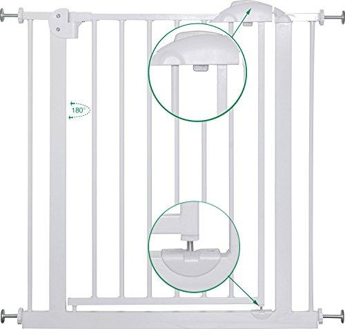 IB-Style – Treppengitter / Türgitter MIKA | Erweiterbar durch Verlängerungen | 75 – 175 cm | Auto-Close – automatisches Schließen | 90° Fixierung | Metall Weiß| Spannbreite 75 – 85 cm - 3