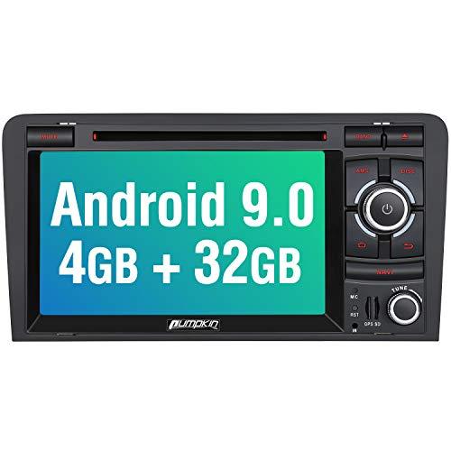 PUMPKIN Android 9.0 Autoradio Radio für Audi A3 mit Navi 4GB / 8 Core Unterstützt Bluetooth DAB + USB CD DVD Android Auto WiFi MicroSD 2 Din 7 Zoll Bildschirm