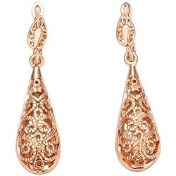 Con cristales de Swarovski cobre con de cristal de 18 K bañado en oro rosa Drop Juego de pendientes de moda libre de níquel