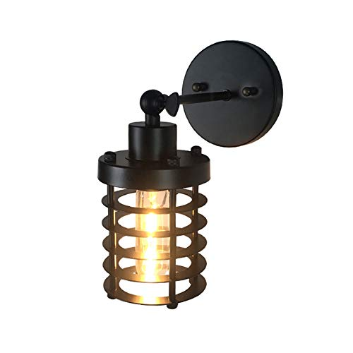 Czqlcyl Wall lamp Retro Lantern Lighting Socket, American Country Industrial Style, Wrought Iron net Cafe bar Bedside Aisle Light [Energy Grade A +]