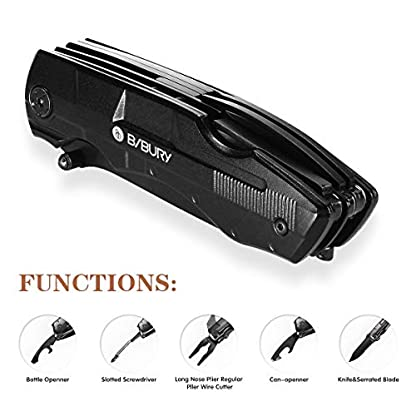 Bibury 5 in 1 Multitools, Foldable Pliers Multitool Stainless Steel Multi Tool, Multi-Purpose Pliers with Nylon Pouch Ideal Pocket Tool for Camping, DIY Activities, Fishing, etc 4