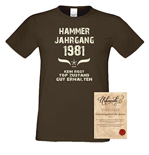 Geschenkidee zum 36. Geburtstag :-: Geschenk Herren kurzarm Geburtstags-Sprüche-T-Shirt mit Jahreszahl :-: Hammer Jahrgang 1981 :-: Geburtstagsgeschenk Männer :-: Farbe: braun Braun