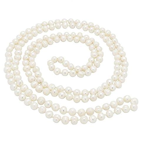 Lange Kette aus Perlen Süßwasserperlen creme-weiß endlos Perlenkette für