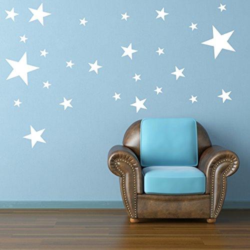 STERNEN SET Kinderzimmer Wandsticker 26 Stück Sterne Sternenhimmel zum Kleben Wandtattoo Wandaufkleber Sticker Wanddeko (Weiss)
