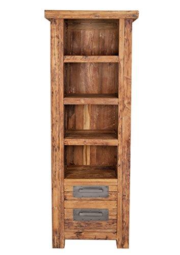 Bücher-Regal mit 4 offenen Fächern und 2 Schubladen aus recyceltem Teak-Holz 70x195 cm | Laroc | Rustikales Holz-Regal Massiv-Holz natur mit vielen Fächern 70cm x 195cm
