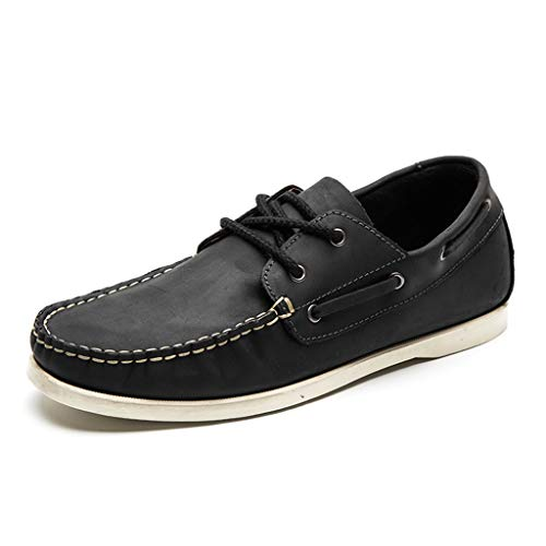 GanSouy Herren Business Casual Bootsschuhe Classic 2 Oesen Leder Lace up-Formale Kleid-Plattform-Schuhe,Black- 7 UK / 40.5/41 EU -