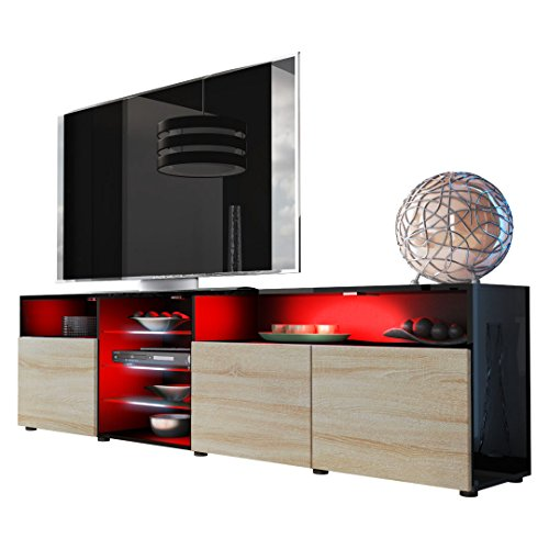 Tv Unit Stand Granada V2, Carcass In Black High Gloss / Front In Rough-sawn Oak
