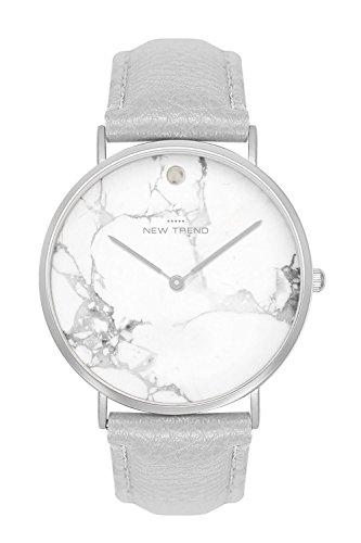 Damenuhr Armbanduhr Trenduhr Marmor Marble Farben Silber Silberne + verschiedene Armbandfarben Beige Braun Lachs Rosegold Nude Grau Schwarz Weiß Lederarmband Herrenuhr Unisex Damen Herren Uhr Uhren (Grau)