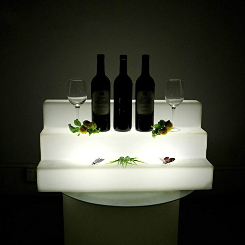 Terraced Wine Rack Color Changing 65cm x 30cm x 30cm Half Hollow Out Ice Box Cube Light Lamp,LED Holders for Champagne, Wine, Beer, Beverage Storage, RGBW LED Chair Stool Furniture with Remote Control,Rechargeable LED Cube Table for Garden, Bar, Club, KTV