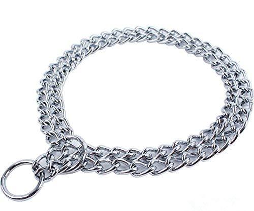 WPC Hundehalsband für Haustiere, Eisen, Metall, Doppelkette, Reihen-Halsband, Anhängerkett, für kleine und mittelgroße Hunde