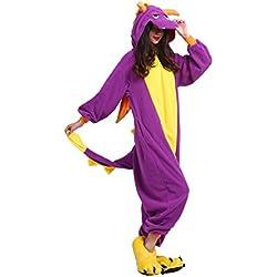 Hstyle Adulto Unisex Mamelucos Pijamas Animal Trajes De Cosplay De Dibujos Animados Ropa De Dormir De Color Púrpura Dragon M