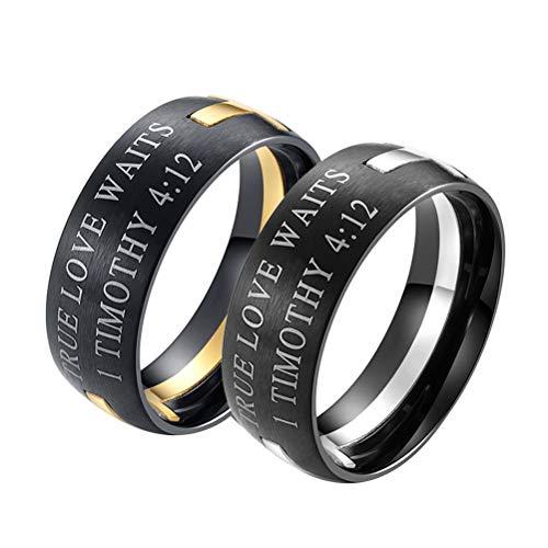 YBMEN Männer Edelstahl Bibel Vers 1 Timotheus 4:12 Christian Cross Puzzle Ring Gold und Silber (Für Fisch-ringe Christian Männer)