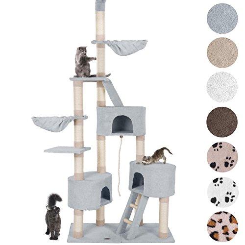 Happypet® Kratzbaum für Katzen deckenhoch CAT027-4 höhenverstellbar 230-260 cm hoch, großer Kletterbaum Katzenbaum, Säulen mit Sisal ca. 8 cm, Haus, Liegemulde, Treppe, Spielseil, Deckenspanner, GRAU