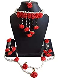 b3904d6f7357ff Fintan Jewelry Spectrumjaipur Flower Gota Patti Jewellery with Necklaces,  Earrings, Bracelets and Maang Tika