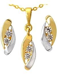Citerna - EP1023 - Collar de mujer de oro bicolor (9k) con 6 circonitas, 46 cm