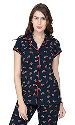 ZEYO Women's Cotton Grey, Pink & Navy Blue Watermelon Print Stylish Night Suit