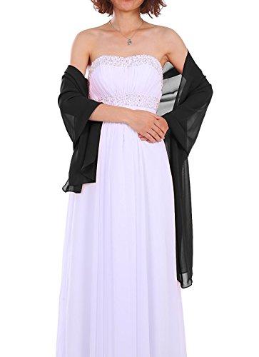Dressystar Chiffon Stola Schal für Kleider in verschiedenen Farben Schwarz 160cm*50cm