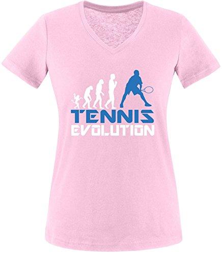EZYshirt® Tennis Evolution Damen V-Neck T-Shirt Rosa/Weiss/Blau