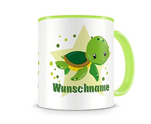 mit Namen und einer kleinen Schildkröte als Motiv Bild Kaffeetasse Teetasse Becher Kakaotasse (Schildkröten-bilder)