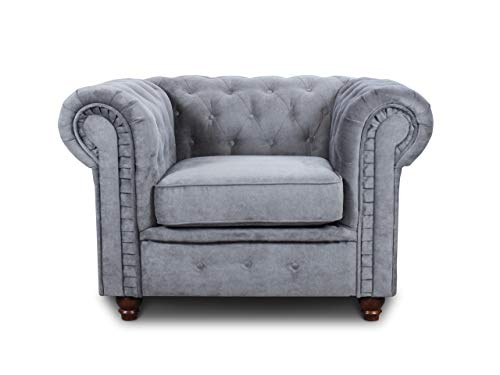 Sessel Chesterfield Asti - Couch, Couchgarnitur, Couchsessel, Loungesessel, Stühl, Holzfüße - Glamour Design (Grau (Capri 09))