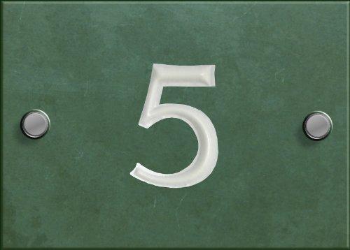 Hausnummernschild, Schiefer, individualisierbar, Nummer hier auswählen (1-99) Grün (05 Schiefer-grün)