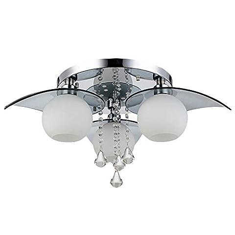 Moderne Mode Crystal Pendentif Luminaire de plafond Rond Verre Abat-jour 3 lumières Rincer l'installation