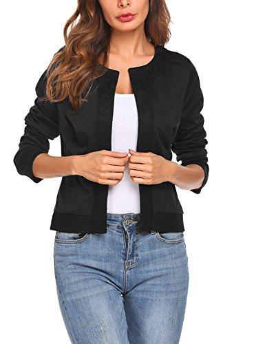 Parabler Damen Herbst Strickjacke Cardigan Blazer Jacke Mantel Pullover Tops (EU 40/ L, Schwarz-X)