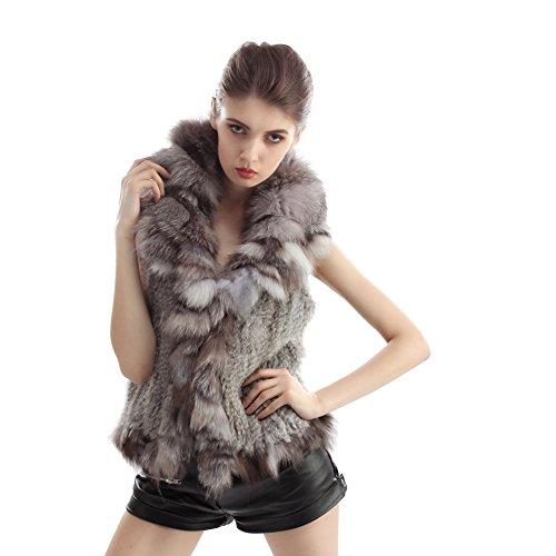 Veste de lapin - Gilets de mode chauds d'hiver avec véritable collier de fourrure Fox Nature Gris