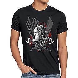 CottonCloud Ragnar Lodbrok Camiseta para Hombre T-Shirt Vikingo Valhalla, Talla:XL