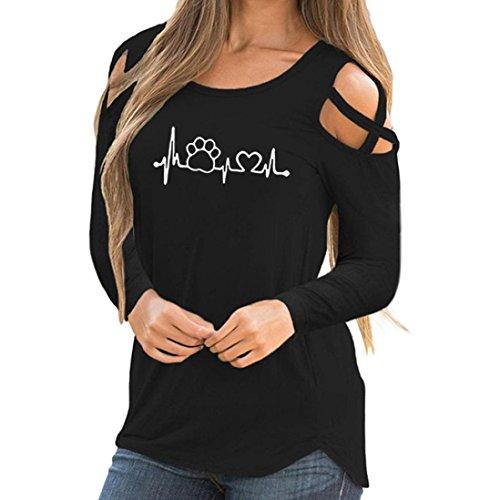 ESAILQ Frauen Langarm Riemchen Cold Shoulder Solid T-Shirt Tops Blusen (XXL, Schwarz-1)