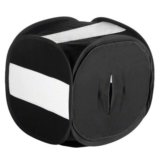 Walimex Pop-Up Lichtwürfel 40x40x40cm schwarz - Lichtzelt Licht-box Mini Fotostudio mit 2 Hintergründen und Tasche, praktische Pop-Up-Technik
