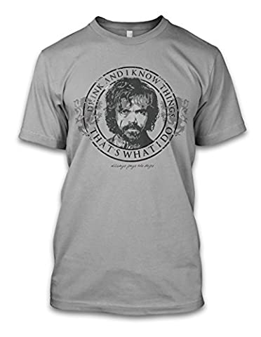 net-shirts TYRION - I DRINK AND I KNOW THINGS T-Shirt, Größe L, Graumeliert