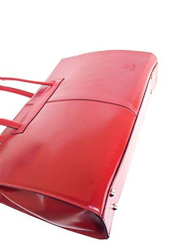 SUPERFLYBAGS Damentasche Modell Uff Schultertasche Echtes Leder Tamponiert Aktenkoffer Made in Italy Rot