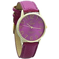 Unisex Gold Plated Mondex / Azaza / MABZ PU Leather Strap Watch (Fuchsia Strap With Fuchsia Dial)