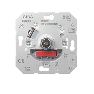 Gira 030200 Glühlampen-Dimmer-Einsatz mit Druck-Wechselschalter, 60-600 W