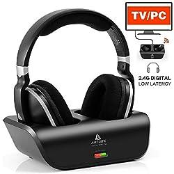 Casque AudioTV sans Fil Numérique UHF/RF 2,4 GHz Over-Ear Headphones avec Station de Chargement Base Emetteur 30,5 m de Portée sans Fil, Noir (Casque TV)