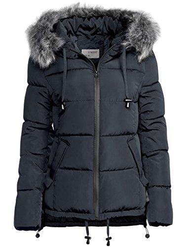 Damen Winter Jacke Pelz Kapuze KURZ Mantel SKI Jacke DAUNEN Optik Vokuhila,  Farbe Dunkelblau 8c868e3c81