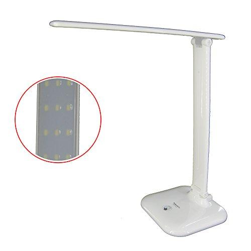 Faltbare LED Tischlampe / Arbeitslampe mit 3 Stufen Touch-Dimmer und flexiblen Lampenarmen, 6W. Goldfull®